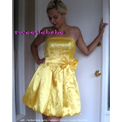 Sweeteibabe S05 Squeins Party Cocktail Evening Prom Dress Yellow S/M/L/XL