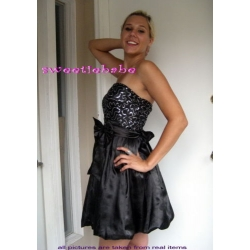 Sweeteibabe S05 Paillette strapless Cocktail Evening Dress Black S/M/L/XL