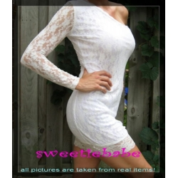 Sweeteibabe S06 Sexy ONE Shoulder Clubwear Mini Lace Dress White S/M/L/XL