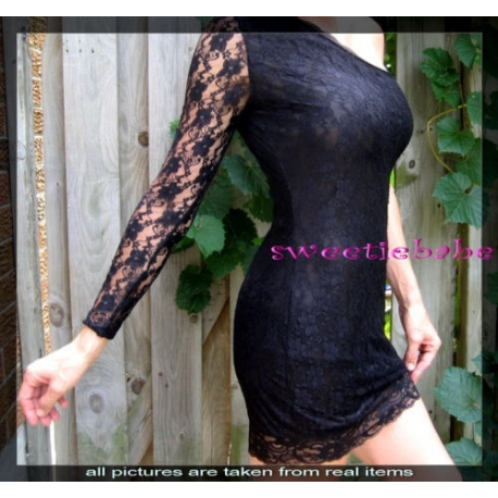 Sweeteibabe S06 ONE Shoulder Evening Clubwear Mini Dresses Black S/M/L/XL