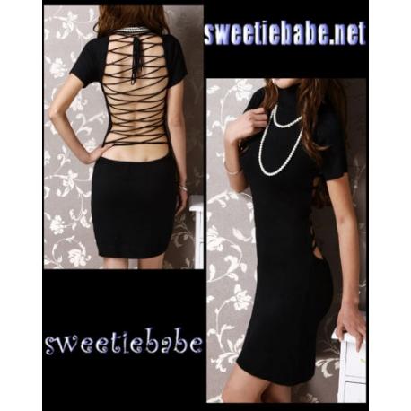 Sweeteibabe V20 Turtleneck Cocktail/Clubwear/Prom Mini Dress Black S/M
