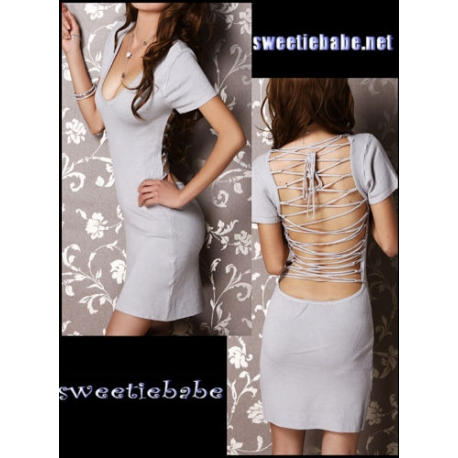 V22 V-Neck Backless Clubwear/Cocktail Dresses Silver S/M