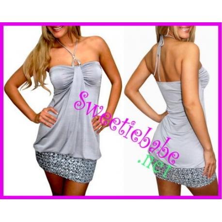 Sweeteibabe V11 Halter Stretch Clubwear Mini Party Dress Silver M