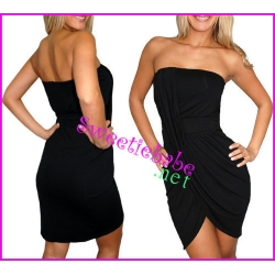 Sweeteibabe V17 Sexy Stretch Clubwear Cocktail Mini Dress Black S/M