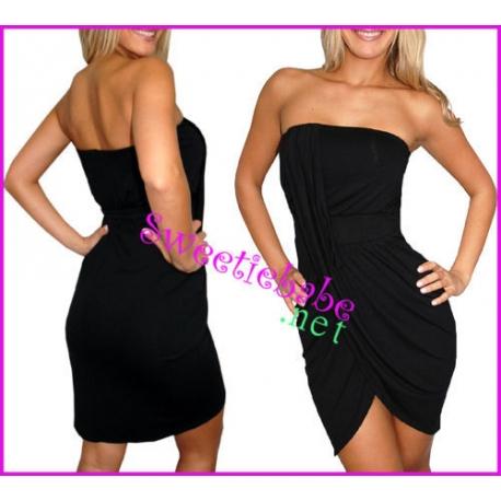 Sweeteibabe V17 Sexy Stretch Clubwear Cocktail Mini Dress Black S/M