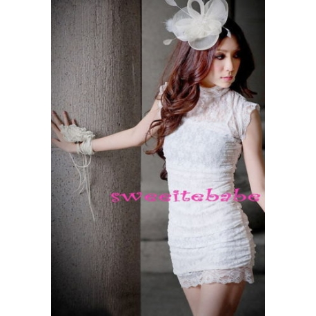S03 Sexy Trim Clubwear Mini Party Lace Dress WHITE S/M/L/XL