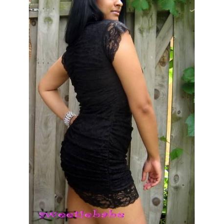 S03 Sexy Trim Clubwear Mini Party Lace Dress Black S