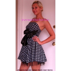 Sweeteibabe S02 CLASSY SPOTS BOW MINI DAY CLUB PARTY DRESS BLACK S/M/L/XL
