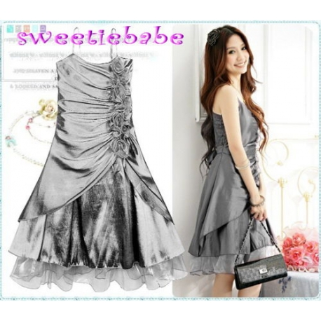 Sweeteibabe S08 FASHION RUFFLE FLOWER COCKTAIL PARTY DRESS SLIVER S/M/L/XL