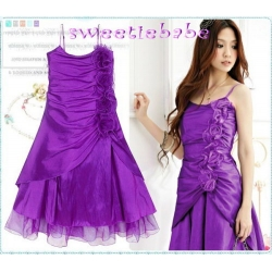 Sweeteibabe S08 FASHION RUFFLE FLOWER COCKTAIL PARTY DRESS PURPLE S/M/L/XL