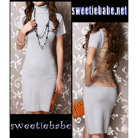 V20 Turtleneck Cocktail Clubwear Party Mini Dress Gray M