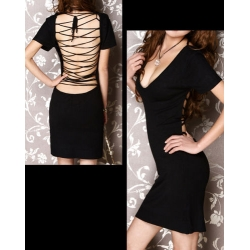 V22 V-Neck Backless Clubwear Cocktail Dresses Black S