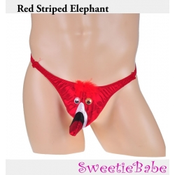 Sweetiebabe Men's Red Strpied Elephant Pouch Joke Funny Peacock Sexy T-Back Novelty Underwear