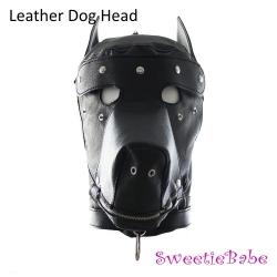 Sweetiebabe Leather Dog Head Hood Bondage Slave Fully Headgear Roleplay Mask Sex Toy