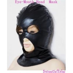 Sweetiebabe Bondage PU Head Hood Mask Open Eye Mouth Sex Toy