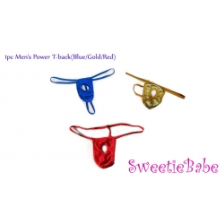 Sweetiebabe Men's Power T-Back Sexy Open Front Penis Hole Underwear Thong Lingerie 1pc