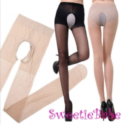 Sweetiebabe S1302 Sexy Silk Sheer Open Crotch/Crotchless Pantyhose Stockings Lingerie
