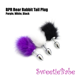 Sweetiebabe BPR Rear Rabbit Tail Butt Plug Toy Black/White/Purple